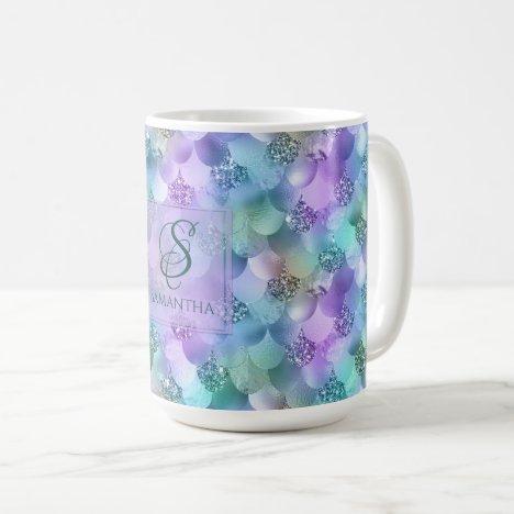Pretty Vibrant Faux Glitter Mermaid Mix Monogram Coffee Mug