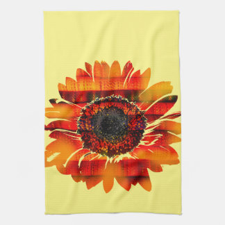 Pretty Vibrant Fiery Sunflower Kitchen Towel