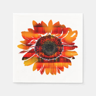Pretty Vibrant Fiery Sunflower Paper Napkin
