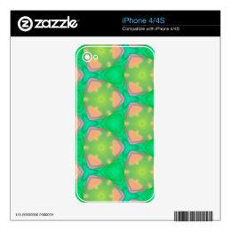 Pretty Vibrant Pastel Peach Modern Geo Pattern iPhone 4 Decals