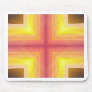 Pretty Vibrant Yellow Peach Cross shaped Pattern Mouse Pad