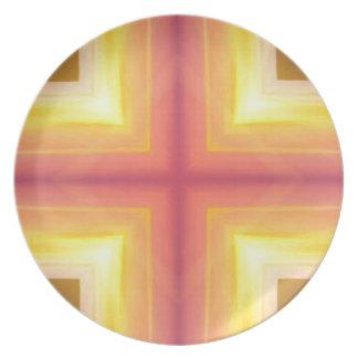 Pretty Vibrant Yellow Peach Cross shaped Pattern Plate