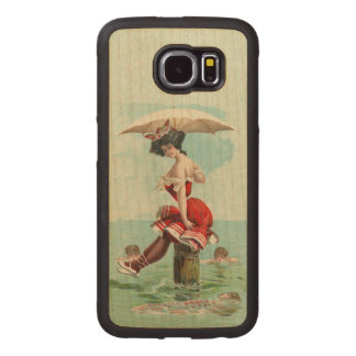 Pretty Victorian Bathing Beauty Umbrella Ocean Wood Phone Case