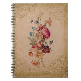 Pretty Victorian Vintage Rose Floral Notebook