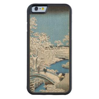 Pretty Vintage Asian Winter Scene Snow Bridge Carved Maple iPhone 6 Bumper Case