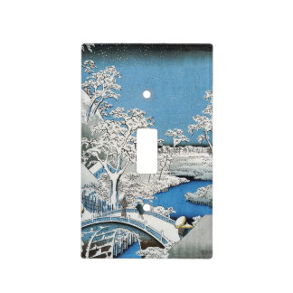 Pretty Vintage Asian Winter Scene Snow Bridge Light Switch Cover