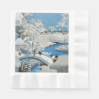 Pretty Vintage Asian Winter Scene Snow Bridge Napkin