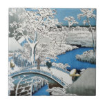 Pretty Vintage Asian Winter Scene Snow Bridge Tile