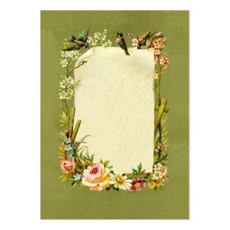 Pretty Vintage Birds & Flowers Border Decoration Business Card Templates
