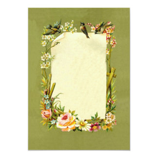 Pretty Vintage Birds & Flowers Border Decoration Card