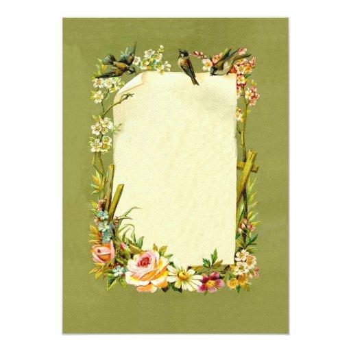Pretty Vintage Birds & Flowers Border Decoration Card
