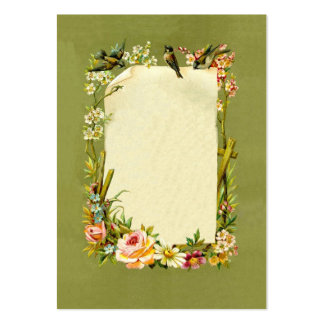 Pretty Vintage Birds & Flowers Border Decoration Large Business Cards (Pack Of 100)