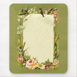 Pretty Vintage Birds & Flowers Border Decoration Mouse Pad