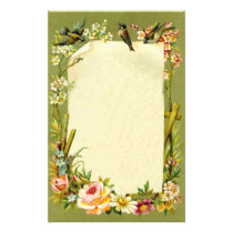 Pretty Vintage Birds & Flowers Border Decoration Stationery