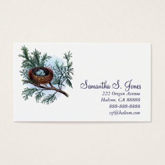 Pretty Vintage Bird's Nest And Eggs Calling Card