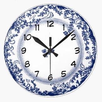 Vintage Blue Delft Plate Effect Clock