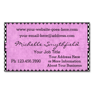 Pretty Vintage Checkered Pink Black and White Magnetic Business Card