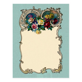 Pretty Vintage Chic Blank Rose Border Design Postcard
