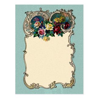 Pretty Vintage Chic Blank Rose Border Design Postcard