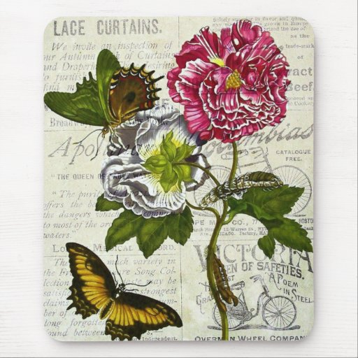 Pretty Vintage Collage Mouse Pad