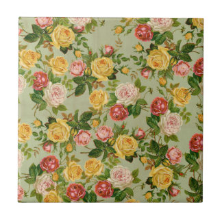 Pretty Vintage Country Floral Girly Rose Pattern Ceramic Tile