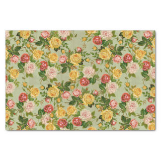 """Pretty Vintage Country Floral Girly Rose Pattern 10"""" X 15"""" Tissue Paper"""