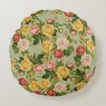 Pretty Vintage Country Floral Girly Rose Pattern Round Pillow