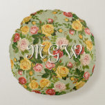 Pretty Vintage Country Floral Rose Monogram Round Pillow
