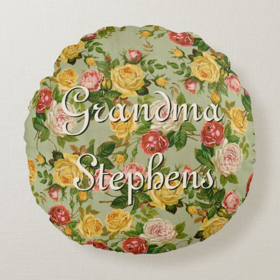 Pretty Vintage Country Floral Rose Personalized Round Pillow