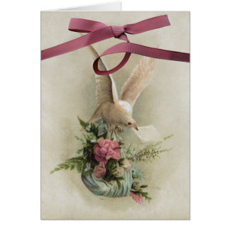 Pretty Vintage Dove With Flowers And Ribbons Greeting Card