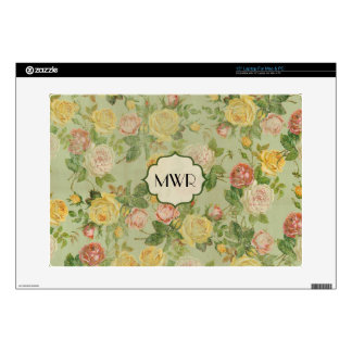 "Pretty Vintage Floral Monogrammed Flower Pattern 15"" Laptop Decal"