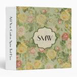 Pretty Vintage Floral Monogrammed Flower Pattern Vinyl Binder
