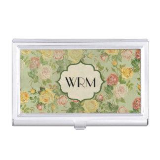 Pretty Vintage Floral Monogrammed Flower Pattern Business Card Holder