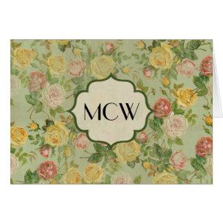 Pretty Vintage Floral Monogrammed Flower Pattern Stationery Note Card