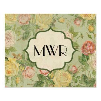 Pretty Vintage Floral Monogrammed Flower Pattern Flyer