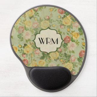 Pretty Vintage Floral Monogrammed Flower Pattern Gel Mouse Pad