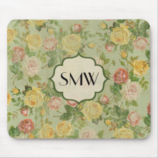 Pretty Vintage Floral Monogrammed Flower Pattern Mouse Pad
