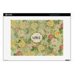 "Pretty Vintage Floral Monogrammed Flower Pattern 15"" Laptop Decal"