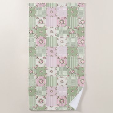 Beach Themed Pretty vintage floral patchwork pink and green beach towel