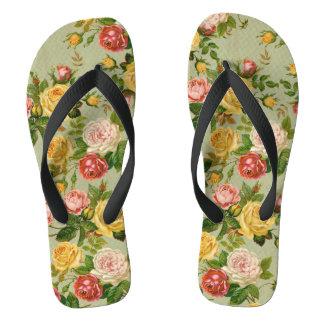Pretty Vintage Floral Rose Pattern Girly Flip Flops