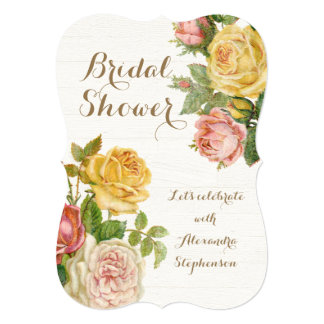 Pretty Vintage Floral Rose Whitewash Bridal Shower Personalized Invites