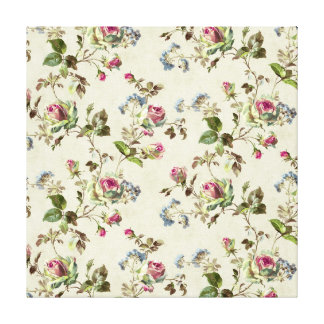 Pretty vintage floral wallpaper rose buds gallery wrapped canvas