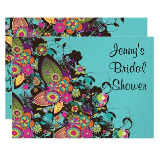 pretty vintage flower frenzy bridal shower card