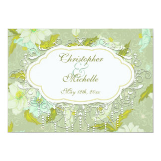 Pretty Vintage Gardenia Flower Wedding Invitation