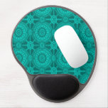 Pretty Vintage Geometric Circles in Bright Teal Gel Mouse Pads