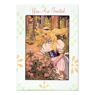 Pretty Vintage Girl With Roses Card