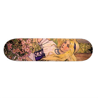 Pretty Vintage Girl With Roses Skateboard Deck