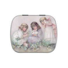 Pretty Vintage Girls With Bunnies Candy Tin at Zazzle