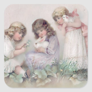 Pretty Vintage Girls With Bunnies Easter Stickers