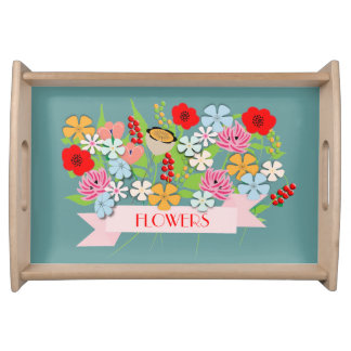 Pretty Vintage Inspired Whimsical Flowers Service Trays